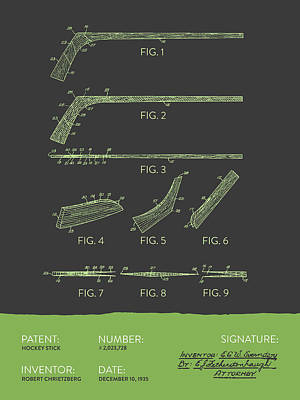 Hockey Stick Patent From 1935 - Gray Green Poster by Aged Pixel
