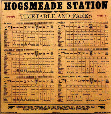 Hogsmeade Station Timetable Poster