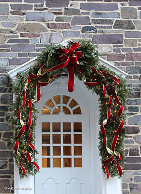 Poster featuring the photograph Holiday Door Wreath by Ann Murphy