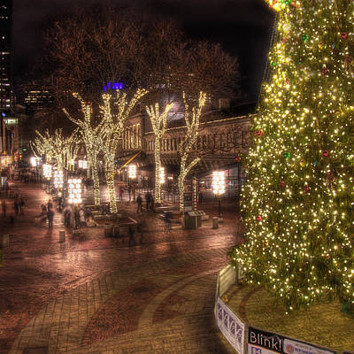Holiday In Quincy Market Poster by Joann Vitali