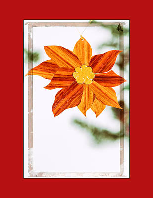 Holiday Pointsettia Art Ornament In Red Poster