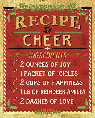 Holiday Recipe I Gold And Red Poster by Pela Studio