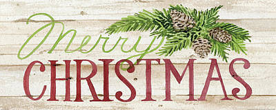 Holiday Sayings II Wood Poster by Kathleen Parr Mckenna