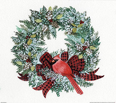 Holiday Wreath I Poster by Kathleen Parr Mckenna
