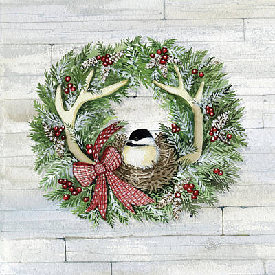 Holiday Wreath Iv On Wood Poster