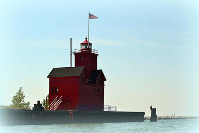 Holland Harbor Light Vignette Poster by Michelle Calkins