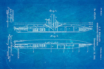 Holland Submarine Patent Art 1892 Blueprint Poster by Ian Monk