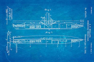 Holland Submarine Patent Art 1892 Blueprint Poster