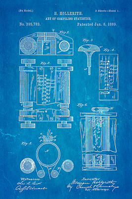 Hollerith Punch Card Patent Art 1889 Blueprint Poster by Ian Monk