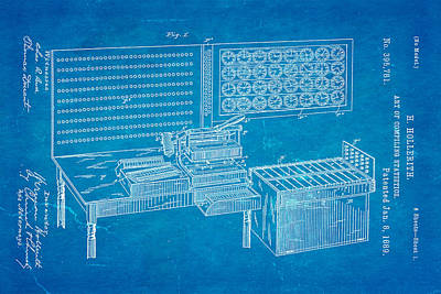 Hollerith Punched Card Patent Art 1889 Blueprint Poster by Ian Monk