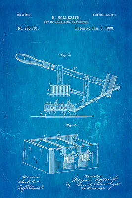 Hollerith Punched Card Patent Art 2 1889 Blueprint Poster by Ian Monk