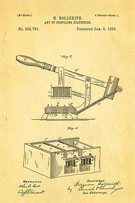 Hollerith Punched Card Patent Art 2 1889 Poster by Ian Monk