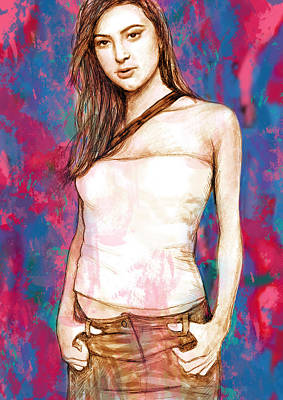 Holly Valance - Stylised Drawing Art Poster Poster