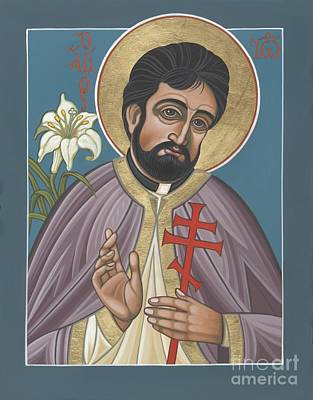 Poster featuring the painting Holy New Martyr Father John Karastamatis Of Santa Cruz 216 by William Hart McNichols