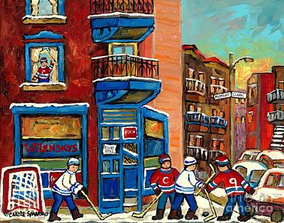 Best Selling Original Montreal Paintings For Sale Hockey At Wilensky's By Carole Spandau Poster