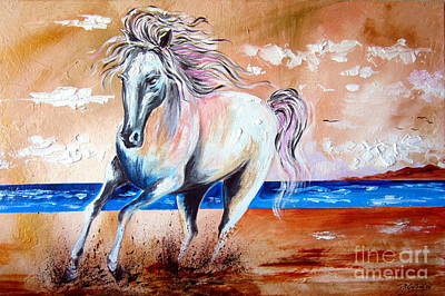 Homage To De Chirico Horses Poster by Roberto Gagliardi
