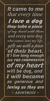 Homage To The Dogs In Our Lives Poster