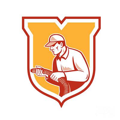 Home Insulation Technician Retro Shield Poster by Aloysius Patrimonio