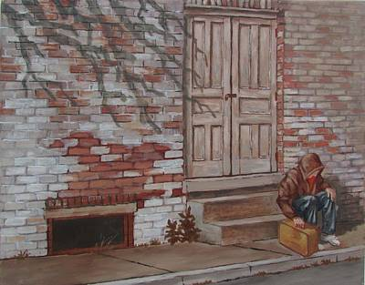 Poster featuring the painting Homeless by Tony Caviston