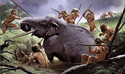 Homo Heidelbergensis Hunting Poster by Science Photo Library