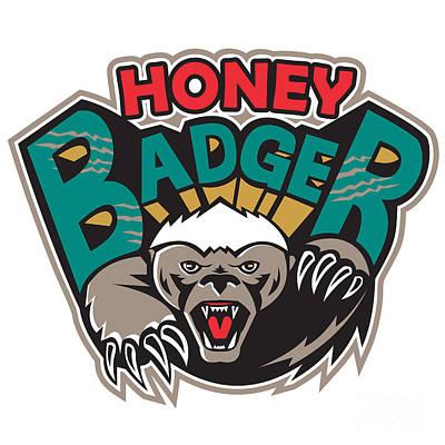 Honey Badger Mascot Front Poster