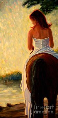 Honeymoon Ride In Gold Poster by Gretchen Allen