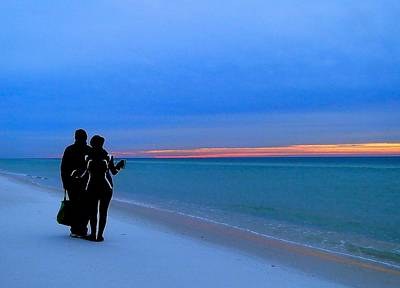 Honeymooners At Dawn On Pensacola Beach Poster by Cindy Croal