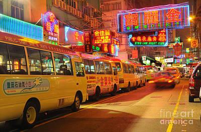 Hong Kong At Night Poster by Colin Woods