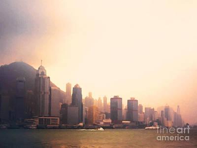 Hong Kong Harbour Sunset Poster