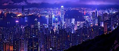 Hong Kong In Purple Poster