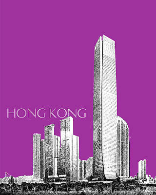 Hong Kong Skyline 2 - Plum Poster by DB Artist