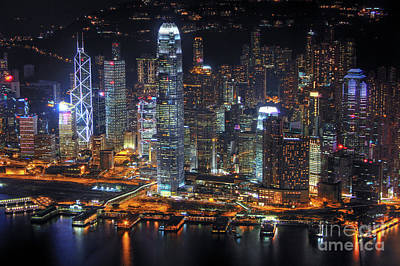 Hong Kong's Skyline At Night Poster by Lars Ruecker