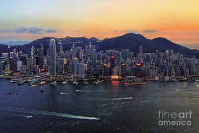 Hong Kong's Skyline During A Beautiful Sunset Poster by Lars Ruecker