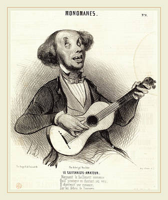 Honoré Daumier French, 1808-1879, Le Guitariste-amateur Poster by Litz Collection