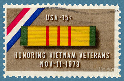 Honoring Vietnam Veterans Service Medal Postage Stamp Poster by Phil Cardamone
