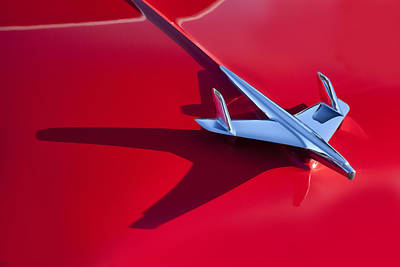 Hood Ornament On 1955 Chevy Poster by Robert Jensen