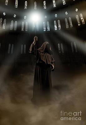 Hooded Man Holding Glowing Wizard Staff  Poster by Jaroslaw Blaminsky
