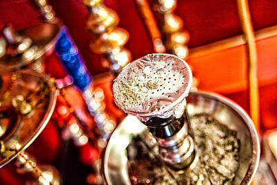 Hookah With Red Background Poster