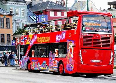 Hop On And Hop Off Bus In Bergen Poster
