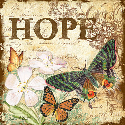 Hope And Butterflies Poster by Jean Plout