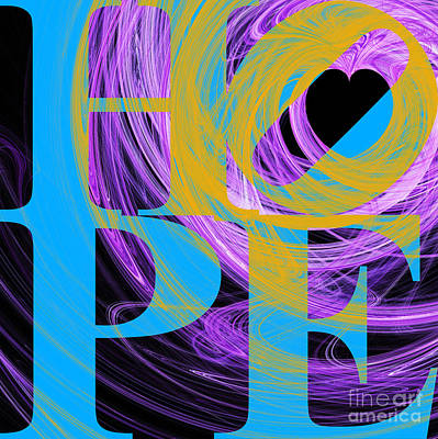 Hope Fractal Heart 20130710 V2 Poster by Wingsdomain Art and Photography