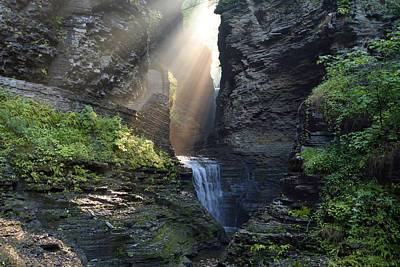 Poster featuring the photograph Hopeful Rays Spotlight Minnehaha Falls by Gene Walls