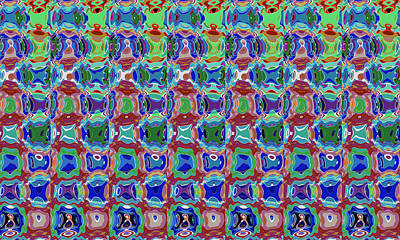 Horizontal Pattern Micro Images Created By Navinjoshi Artist Characters Faces Eyes Cartoons Pebbles  Poster