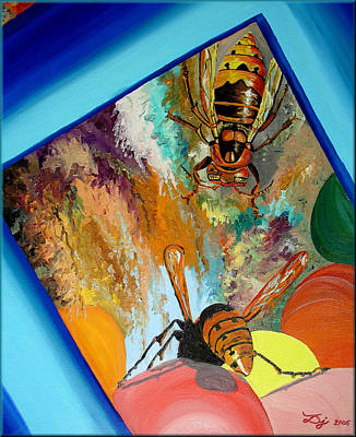 Poster featuring the painting Hornets by Daniel Janda