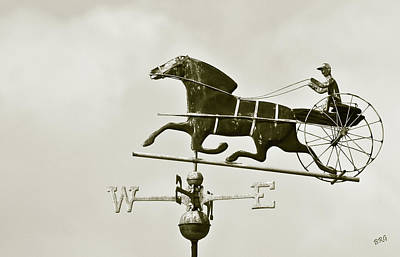 Horse And Buggy Weathervane In Sepia Poster by Ben and Raisa Gertsberg