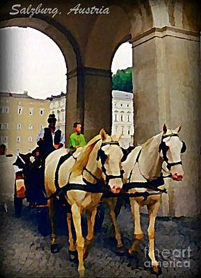 Horse And Carriage In Salzburg Austria Poster by John Malone
