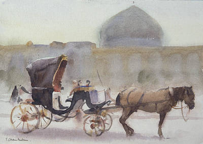 Horse And Carriage, Naghshe Jahan Square, Isfahan Wc On Paper Poster by Trevor Chamberlain