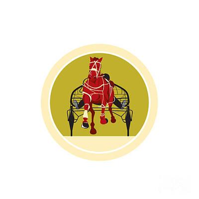 Horse And Jockey Harness Racing Retro Poster by Aloysius Patrimonio