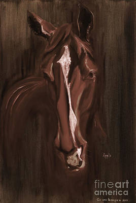Horse Apple Warm Brown Poster