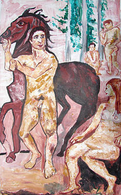 Poster featuring the painting Horse Beeing Tied by Anand Swaroop Manchiraju